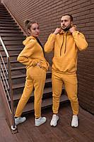 Парные спортивные костюмы оверсайз теплые на флисе женские и мужские толстовка и штаны с начесом желтый