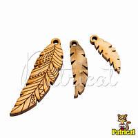 Перо деталь деревянная для ожерелья