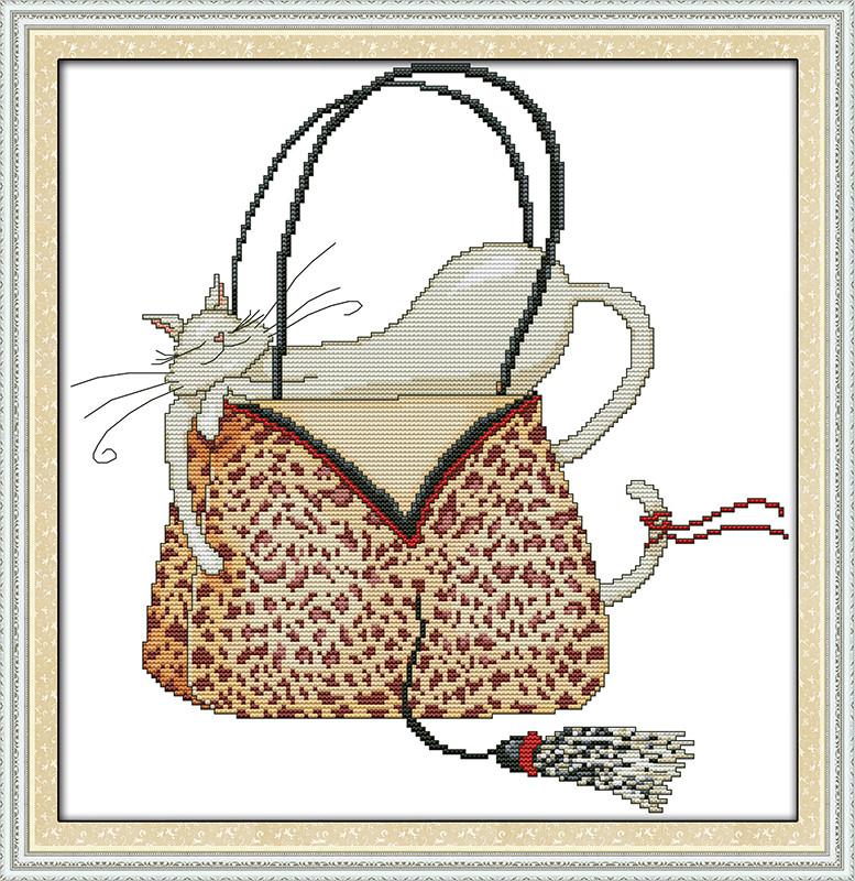 Кот в сумочке K485/1 Набор для вышивания крестиком с печатью на ткани 14ст