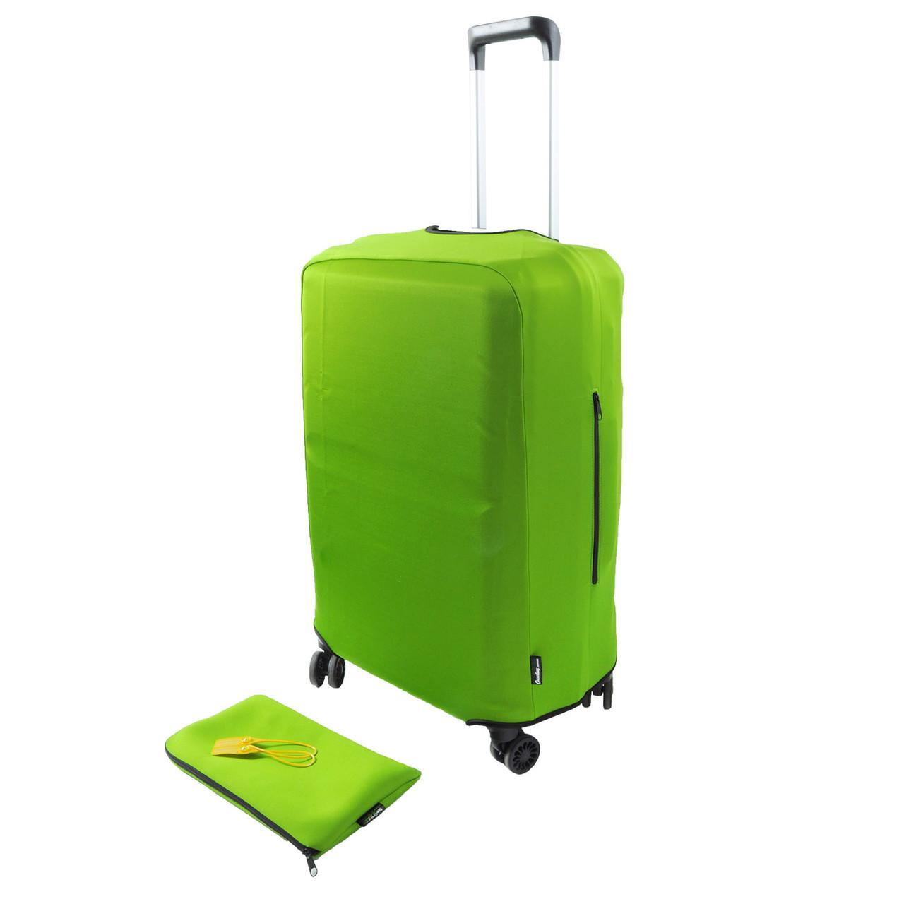 Чехол для чемодана L (65 - 75 см) - Зеленый (Фастекс, пластиковая защелка, сумочка)