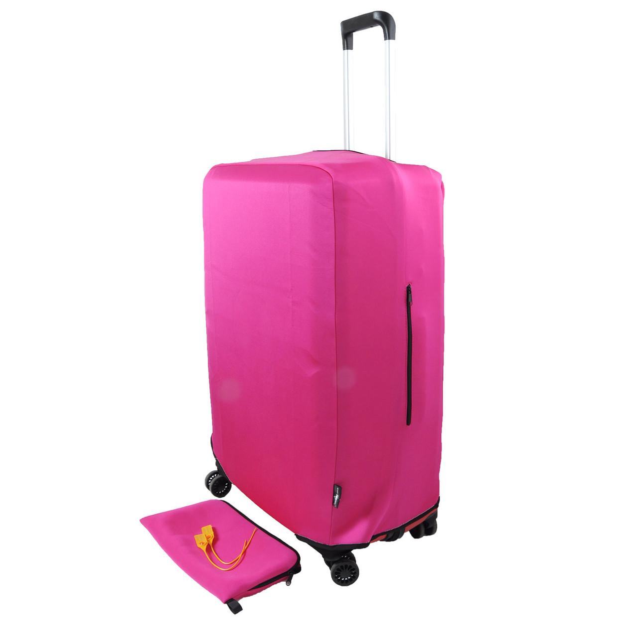 Чехол для чемодана L (65 - 75 см) - Розовый (Фастекс, пластиковая защелка, сумочка)