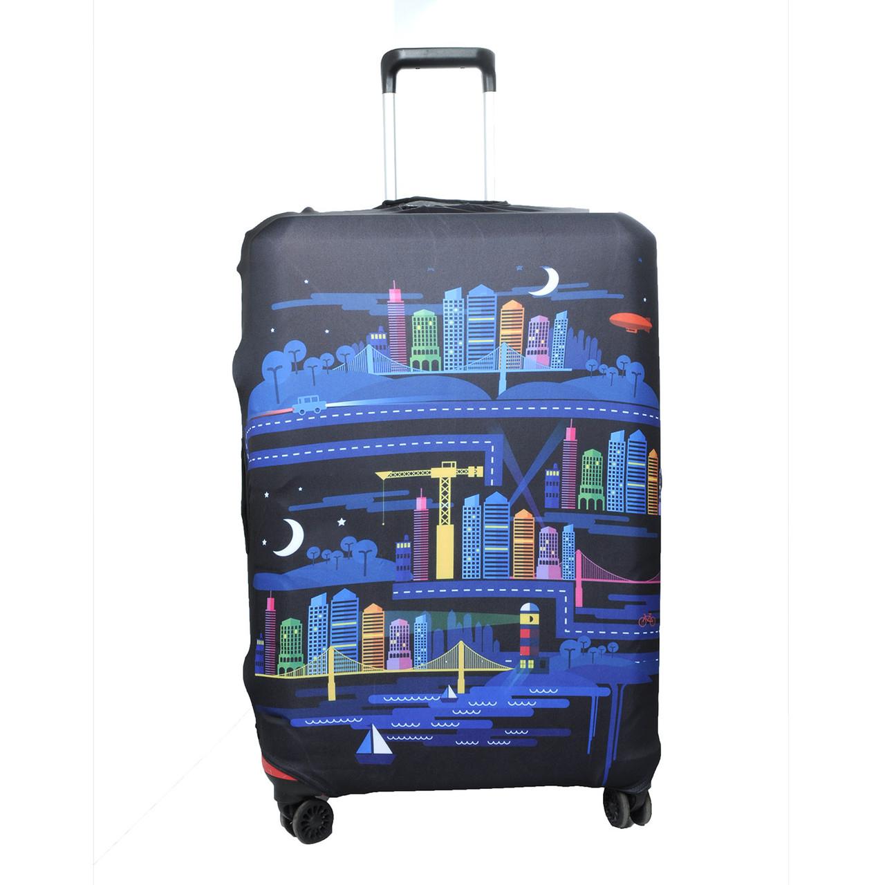 Чехол для чемодана с принтом L (65 - 75 см) микс, (Молния, фастекс, пакет)