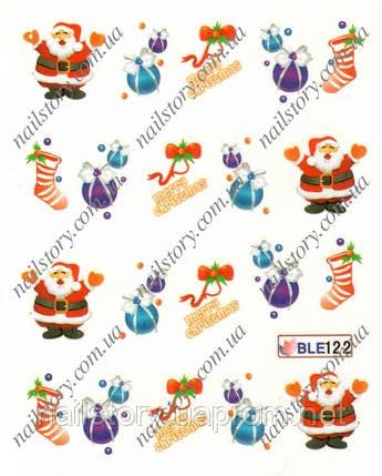 Новогодние наклейки для ногтей BLE122, фото 2