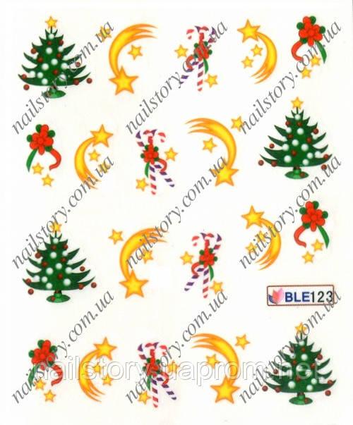Новогодние наклейки для ногтей BLE123