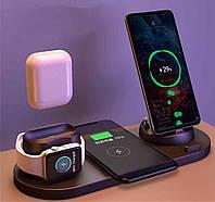 Бездротова док станція FAST CHARGER D6 Pro 6в1 зарядні порти для всіх видів телефонів (Type C, Micro USB,