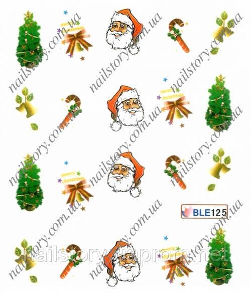 Новогодние наклейки для ногтей BLE125