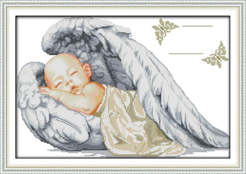 Спящий ангел .Метрика K777 Набор для вышивания крестиком с печатью на ткани 14ст