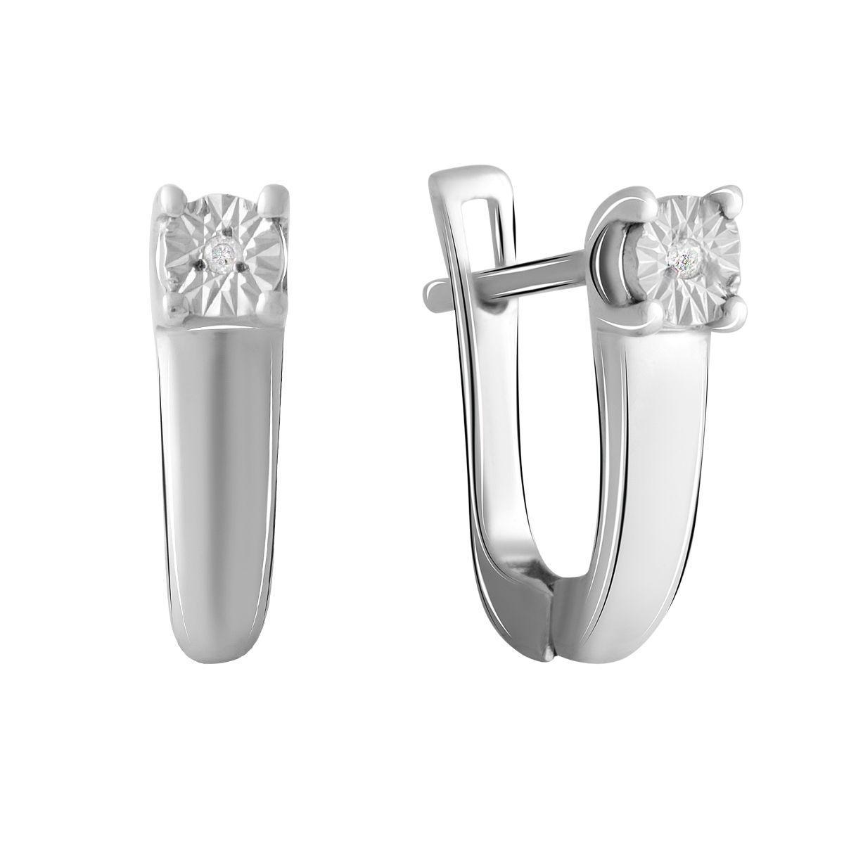 Серебряные серьги DreamJewelry с натуральными бриллиантом 0.018ct (2043683)