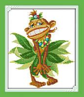 Год обезьяны  Набор для вышивания крестиком с печатью на ткани 14ст