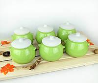 Набор горшочков для духовки 6 шт керамика салатные 600 мл (766)