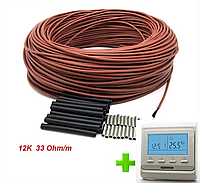 4м2. Комплект для теплого пола из нагревательного карбонового кабеля 33 ом/м 12К (40метров) с терморегулятором, фото 1