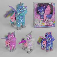Мягкая музыкальная игрушка Пони Единорог С 43953 (24) в пайетках, ходит, 2 песни, 4 цвета, в коробке, в