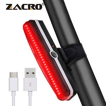 Яркий велосипедный фонарь со встроенным аккумулятором (RED, 500mAh, 26 COB led, 6 режимов, USB) Вело мигалка