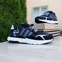 Мужские демисезонные кроссовки Adidas Nite Jogger (черно-белые) 10160 весенняя спортивная обувь