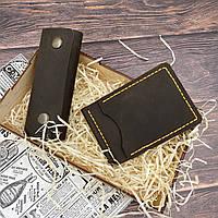 Кожаный зажим, кошелек, портмоне ручной работы из кожи Crazy Horse в подарок ключница, фото 1