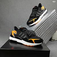 Мужские демисезонные кроссовки Adidas Nite Jogger (черно-оранжевые) 10348 весенняя спортивная обувь