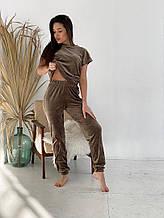 Женская пижама - тройка, плюш, р-р 42-44; 46-48; 50-52 (шоколадный)
