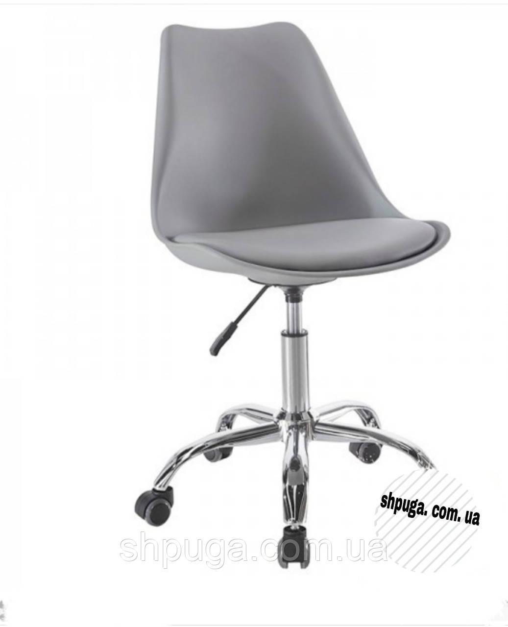Кресло на колесах Астер, пластик ,сиденье с подушкой, цвет серый.