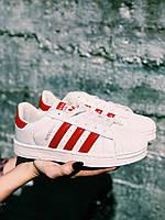 Кроссовки красные Adidas Superstar Red Кросівки Суперстар, фото 1