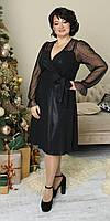 Нарядное женское платье на запах черного цвета