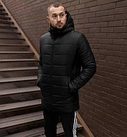 Мужская зимняя куртка удлиненная парка черная Турция. Живое фото. Чоловіча куртка зимова