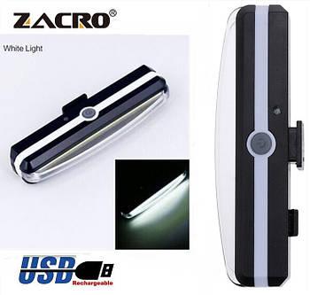 Яркий велосипедный фонарь со встроенным аккумулятором (WHITE, 500mAh, 26 COB led, 6 режимов, USB) Вело мигалка
