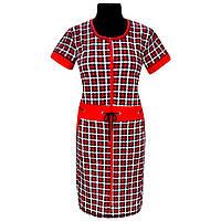 Женский  трикотажный халат красный в клеточку   64-68 размер