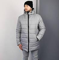 Мужская зимняя куртка удлиненная парка серая Турция. Живое фото. Чоловіча куртка зимова