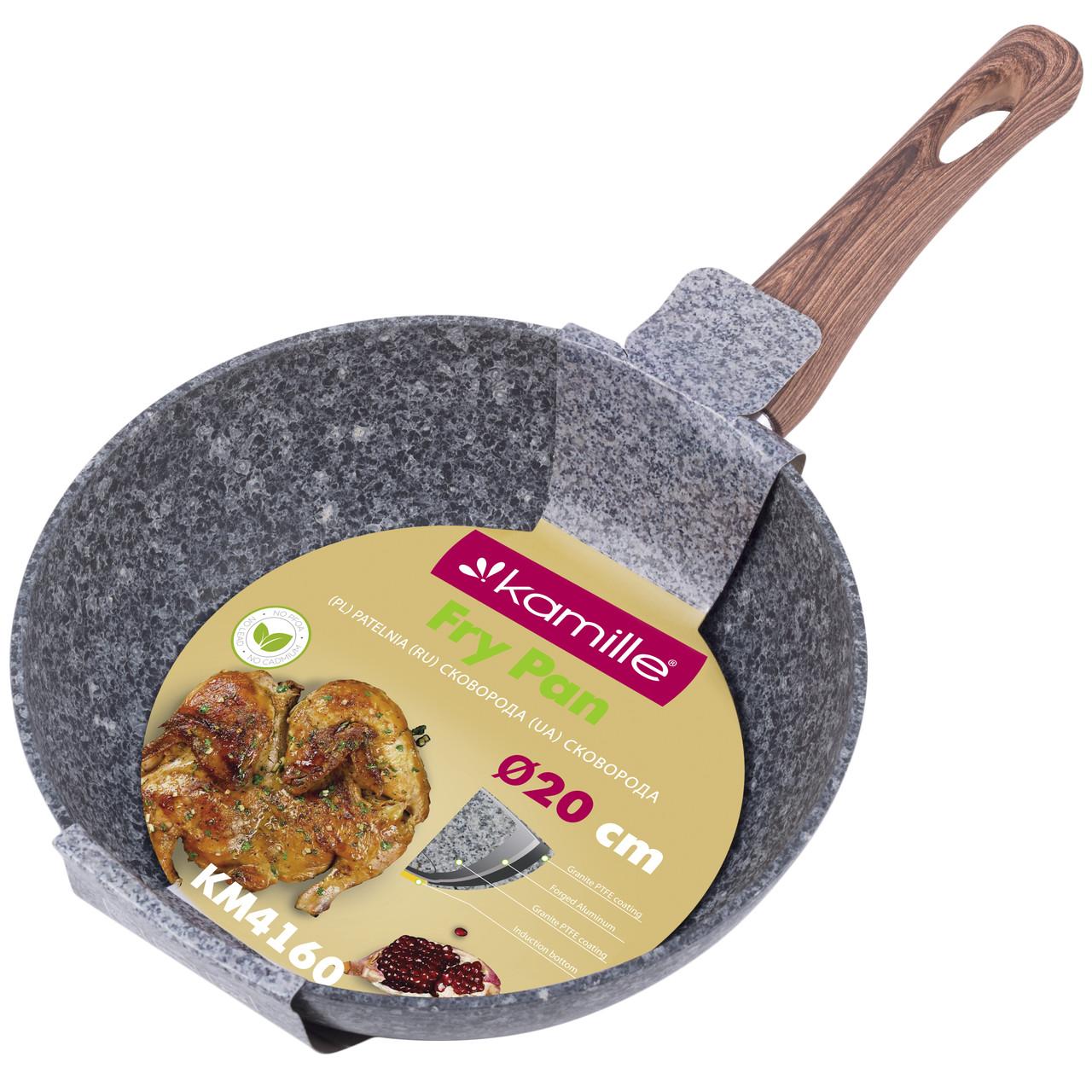 Сковорода Kamille 20см с антипригарным покрытием PTFE из алюминия для индукции и газа KM-4160