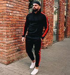 Спортивный костюм мужской весна-осень черый лампас трикотаж Турция. Живое фото. Чоловічий спортивний костюм