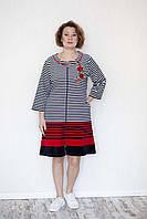 Велюровий смугастий халат жіночий, фото 1