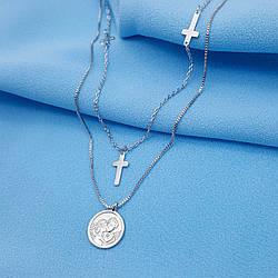 Підвіска подвійна, Медальйон з хрестиками, р.40-44, без камінчиків, під срібло