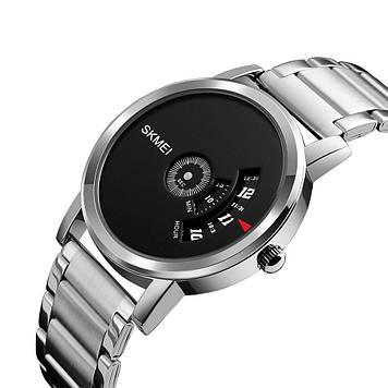 Часы с оригинальным дизайном Skmei 1260 Серебристые с черным циферблатом