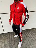 АКЦИЯ ВЕСНЫ. Спортивный мужской костюм Adidas (штаны+олимпийка) красного цвета. 95% хлопок. Сезон Весна-Лето