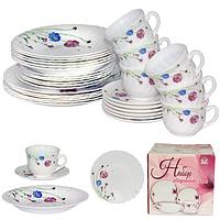 Набор посуды обеденный 30 предметов Весенние цветы, стеклокерамика 450-110-30