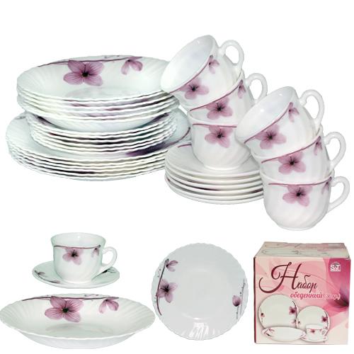 Набор посуды обеденный 30 предметов Орхидея, стеклокерамика 450-100-30