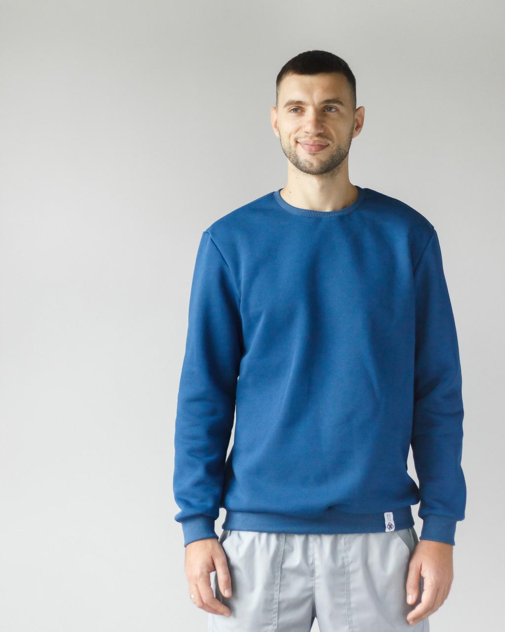 Теплый мужской свитшот с начесом синий