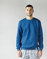 Теплый мужской свитшот с начесом синий, фото 1
