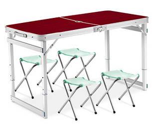 Стол для пикника раскладной со 4 стульями 120х60х55(70) см 3 режима высоты (Усиленный) Brown (13311)