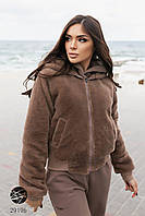 Женская двусторонняя куртка из эко-овчины и плащевки с капюшоном. Модель 29196. Размеры 42-48