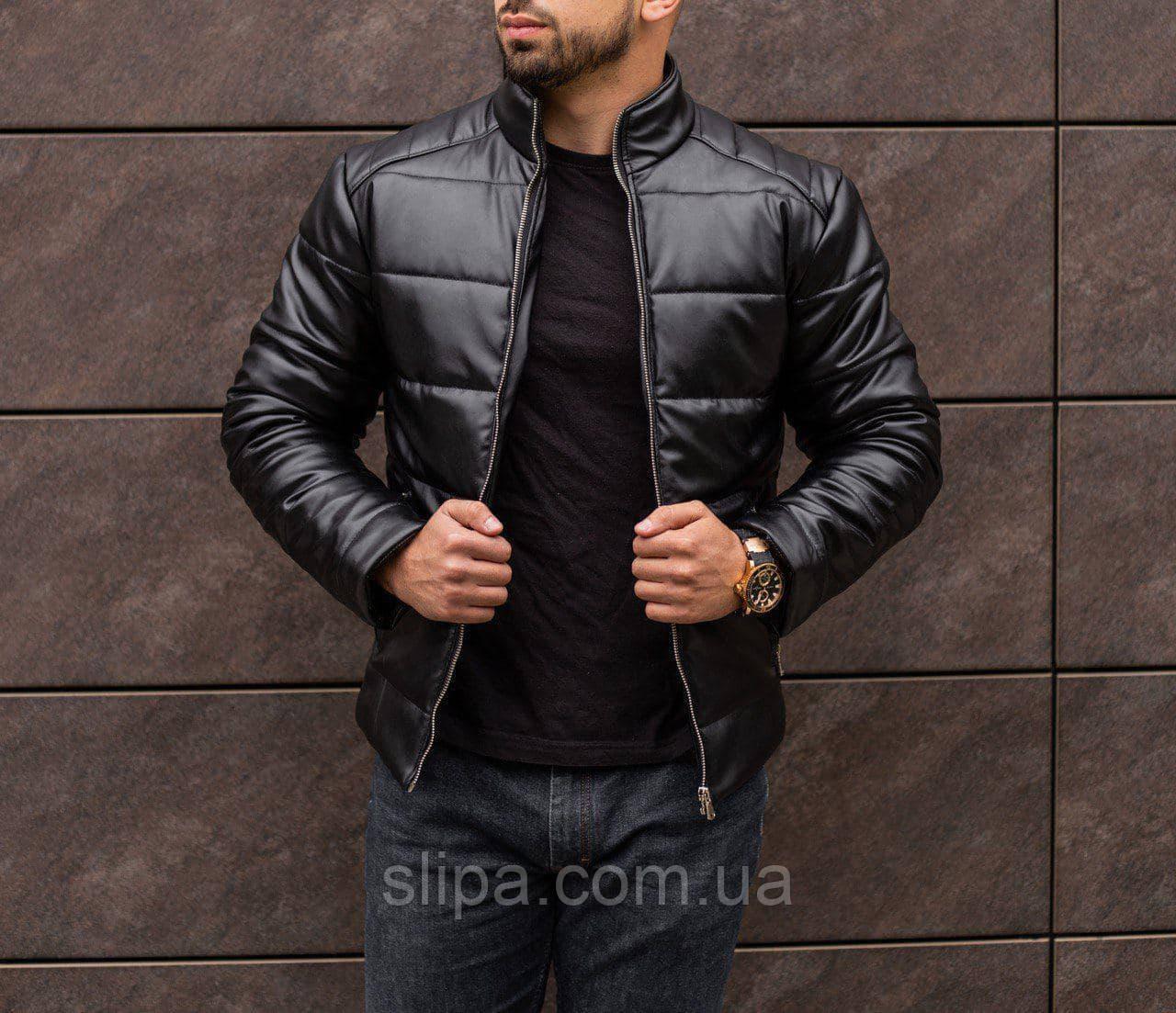 Мужская зимняя кожаная куртка чёрная ( синтепон, до -25С )