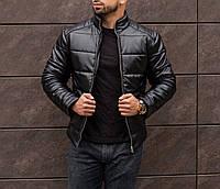 Мужская зимняя кожаная куртка чёрная ( синтепон, до -25С ), фото 1