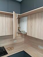Встроенная двухуровневая угловая кухня лоджия 2,58*1,0*1,3 м 12