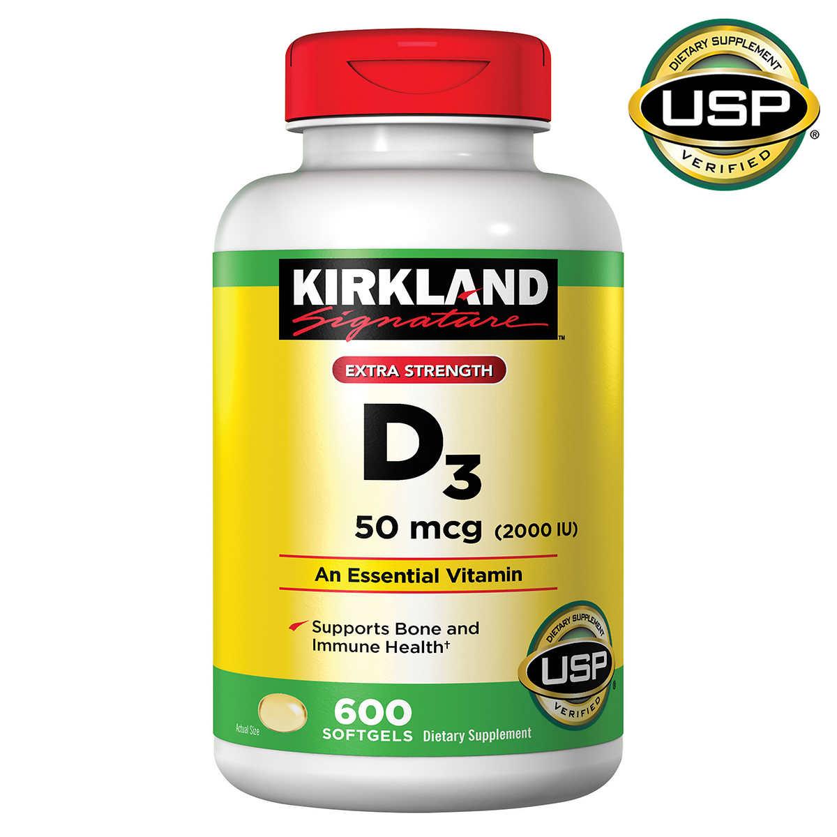 Kirkland Signature Vitamin D3 50mcg (2000 IU) - Вітамін D3 50mcg (2000 IU) (600табл.)