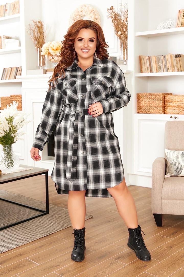 Трикотажное  женское платье - рубашка Размеры: 52,54,56,58!