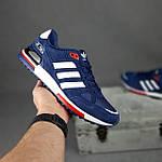 Чоловічі кросівки Adidas ZX 750 (сині з червоним) 10345 замшеві чоботи повсякденні спортивні кроси, фото 4