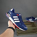 Чоловічі кросівки Adidas ZX 750 (сині з червоним) 10345 замшеві чоботи повсякденні спортивні кроси, фото 2