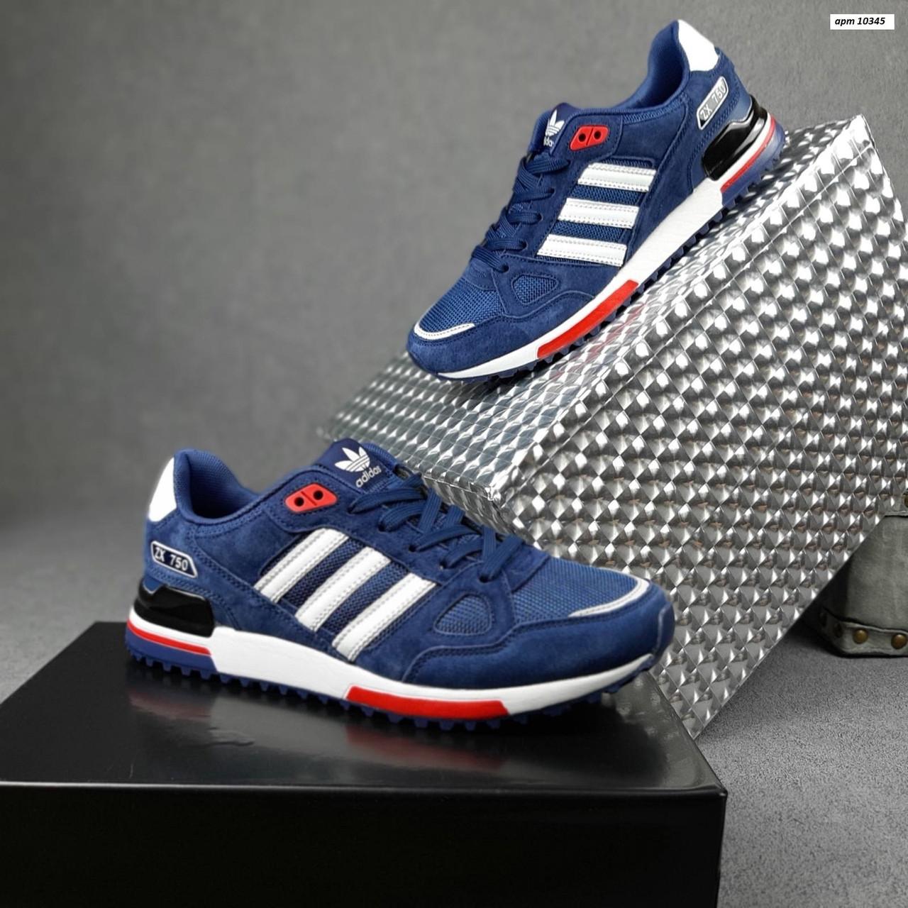 Чоловічі кросівки Adidas ZX 750 (сині з червоним) 10345 замшеві чоботи повсякденні спортивні кроси