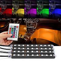 Универсальная RGB LED подсветка салона авто Car atmosphere Light 8 цветов в прикуриватель