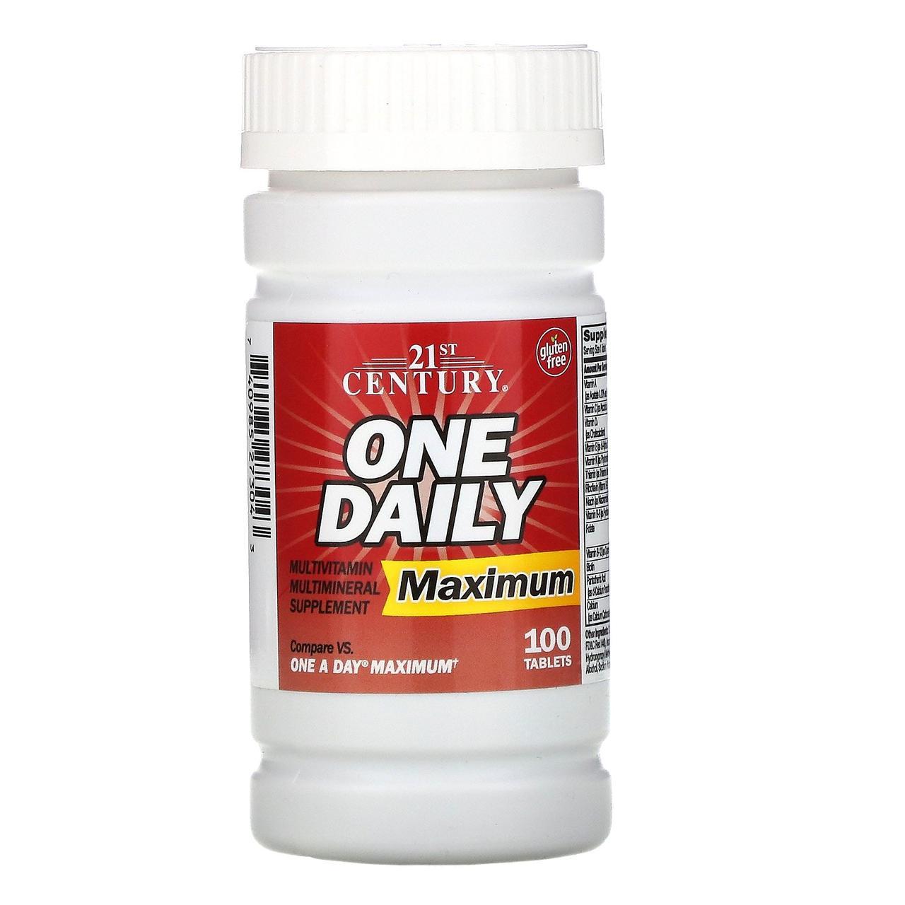 Комплекс мультивитаминов и минералов максимального действия, 100 таблеток, 21st Century, One Daily